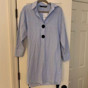 Zara button down dress with tie belt
